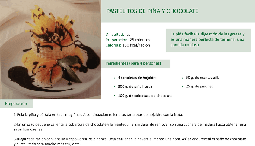 pastelitos de piña y chocolate